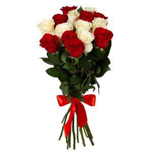15 красно-белых роз — Букеты цветов