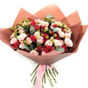15 кустовых роз «Сицилия» — Букеты цветов