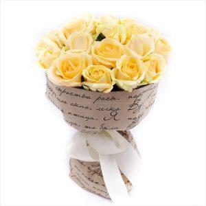 15 кремовых роз — Букеты цветов