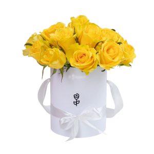 15 желтых роз в коробке — Композиции