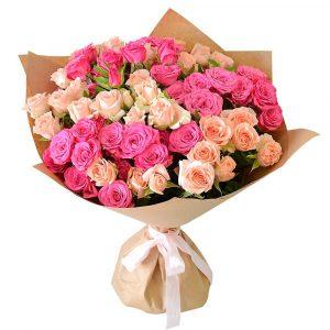 15 кустовых роз «Пинк» — Букеты цветов