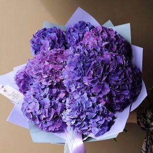 Букет из 11 фиолетовых гортензий — Букеты цветов