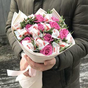 Букет из роз и рафаэлло — Съедобные букеты