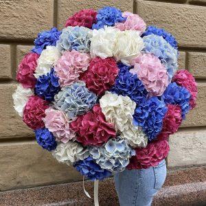 Букет из 25 гортензий микс — Букеты цветов